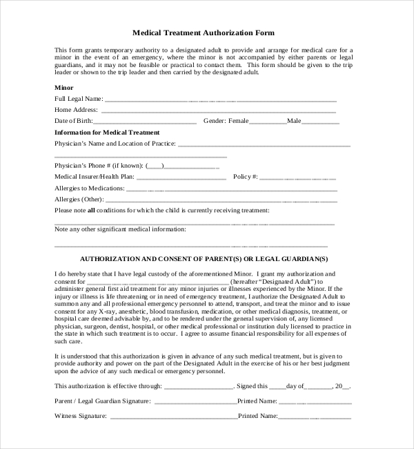 8 sample child medical consent forms sample forms for Consent form template for children