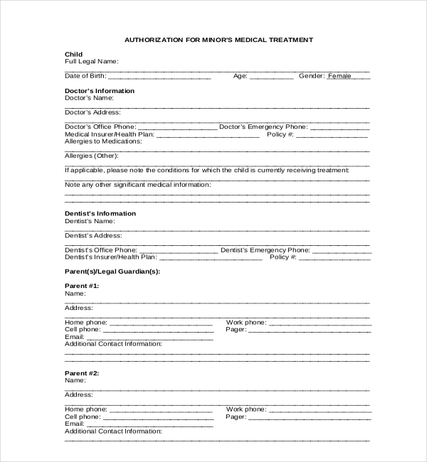 minor medical release form