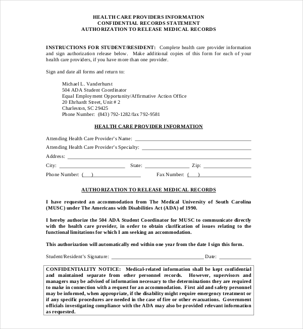 musc medical records release form