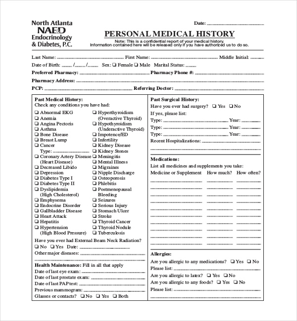 21 Sample Medical History Forms – Sample Medical History Form