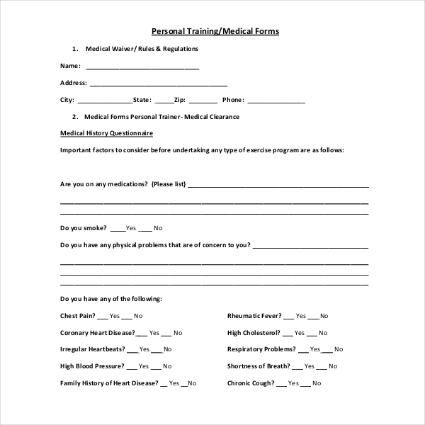 15 sample medical waiver forms sample forms for Personal trainer contract templates