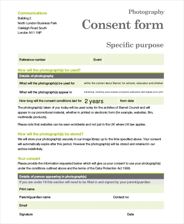 Photography Business Consent Form  Blank Consent Form