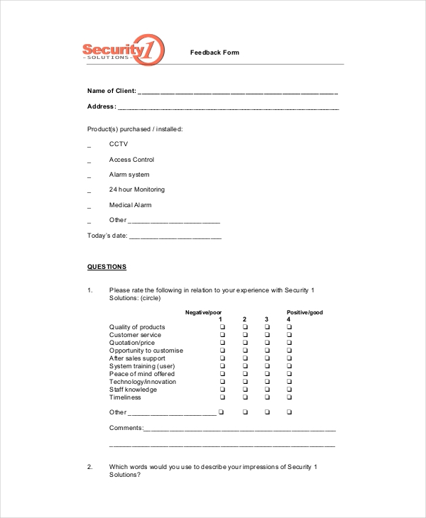 Sample Service Feedback Forms