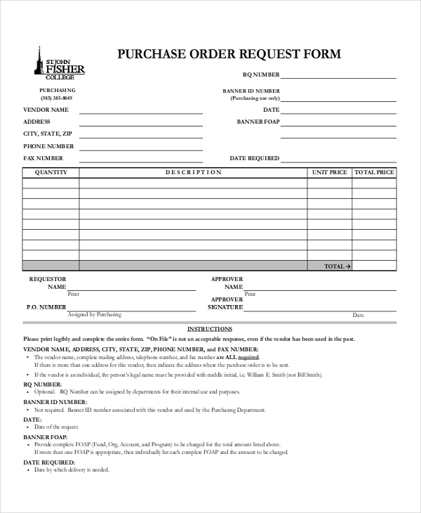 Sample Purchase Order Forms  Sample Forms