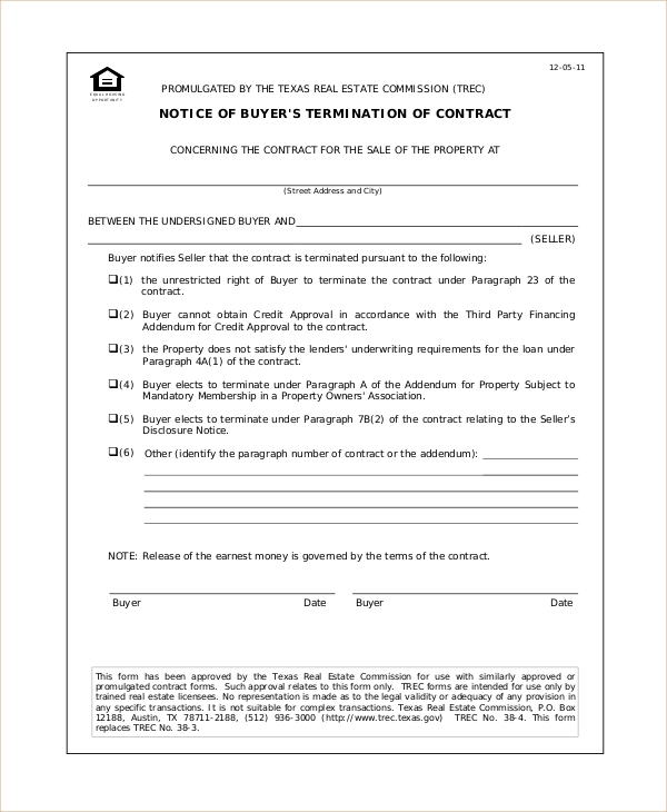 Sample Cancellation Of Contract Forms 8 Free Documents