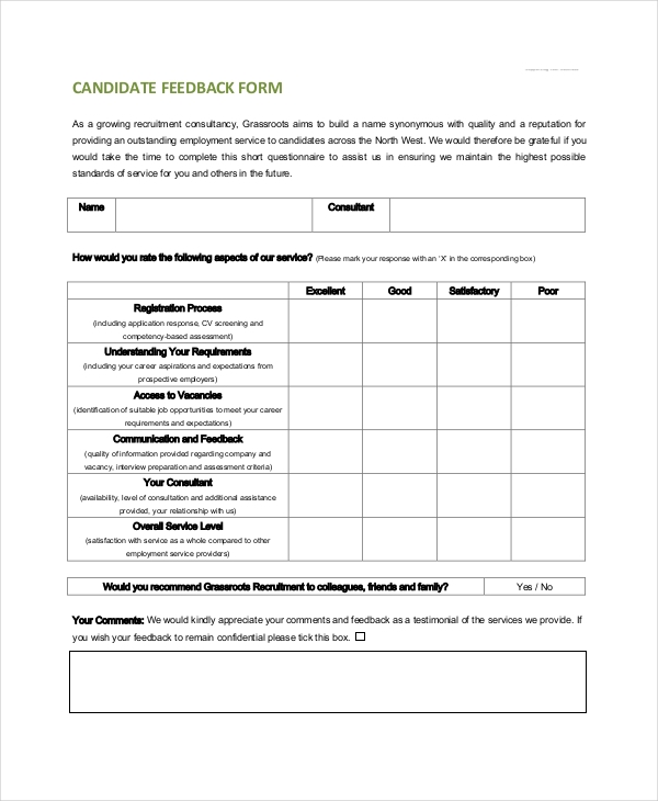 17 Sample Service Feedback Forms