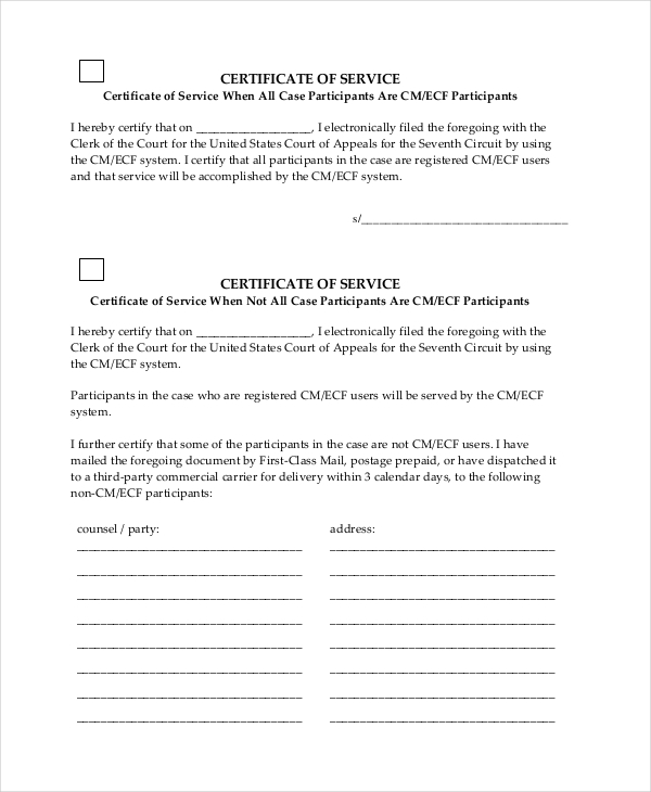 seventh circuit certificate of service form