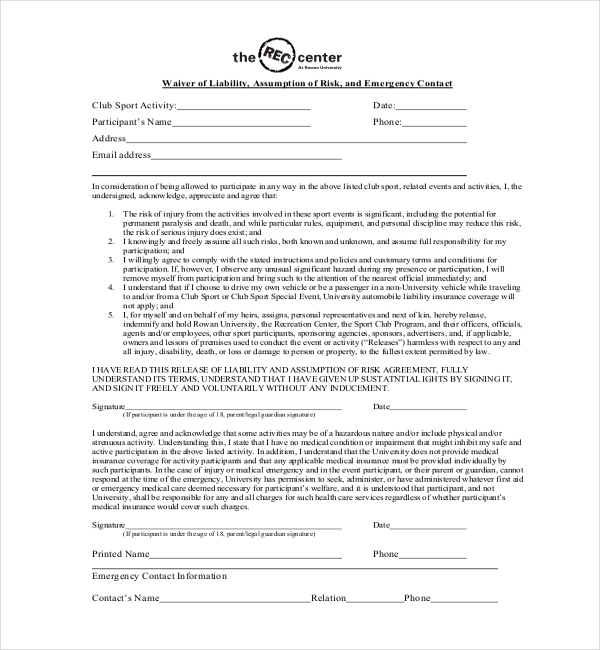 Participation Waiver Template The Wade Ranch Llc Waiver Form