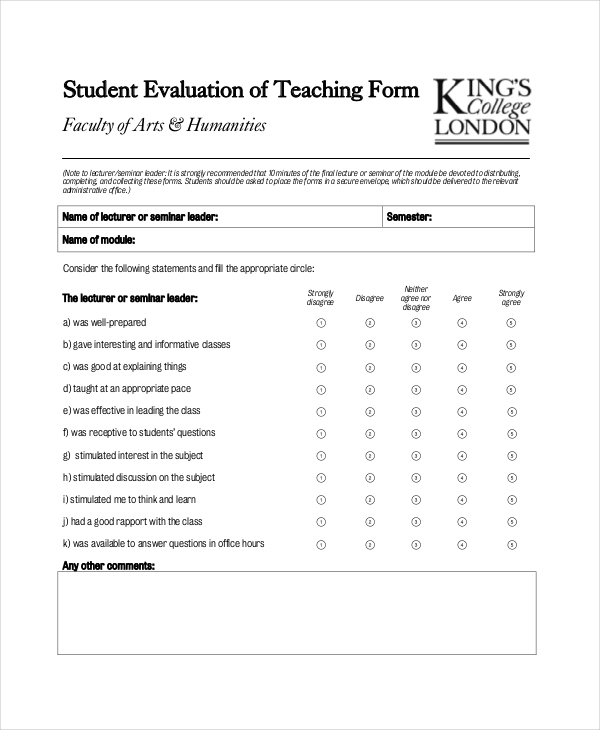 student teacher feedback form