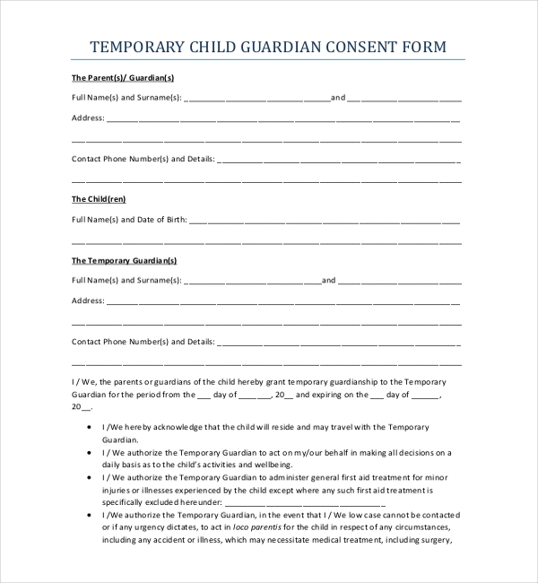 Temporary Guardianship Form. Letters Of Temporary Guardianship ...
