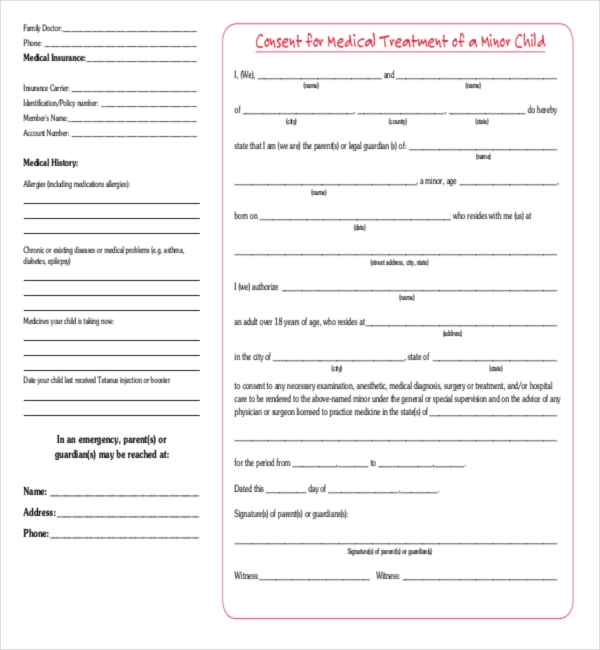 consent for medical treatment of a minor form 8 sample child consent forms sample forms 19156
