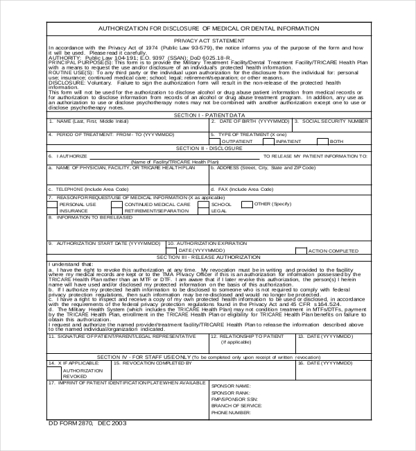 tricare medical records release form