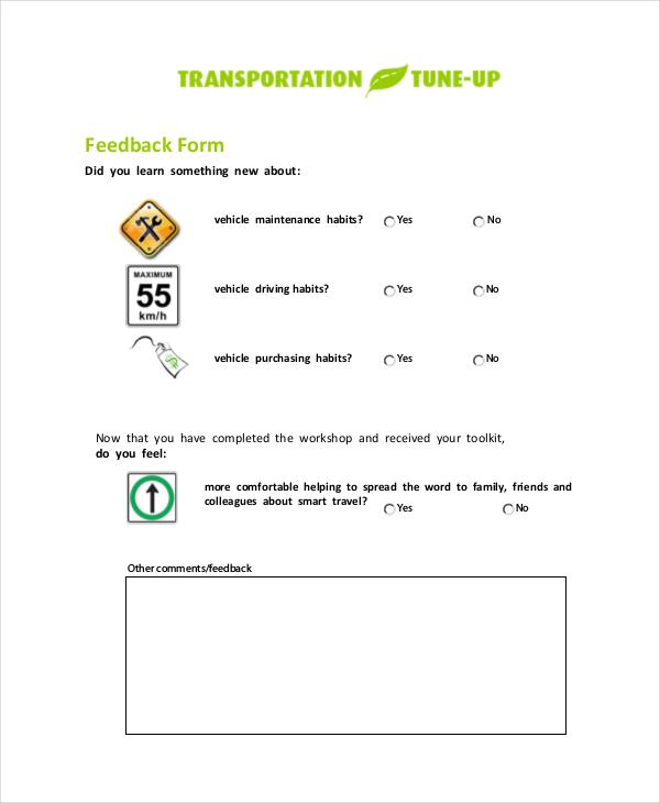 vehicle service feedback form