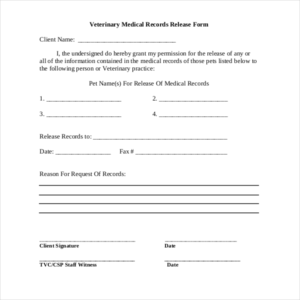 Delightful Veterinary Medical Records Release Form