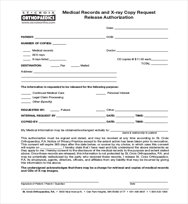 x ray medical release form