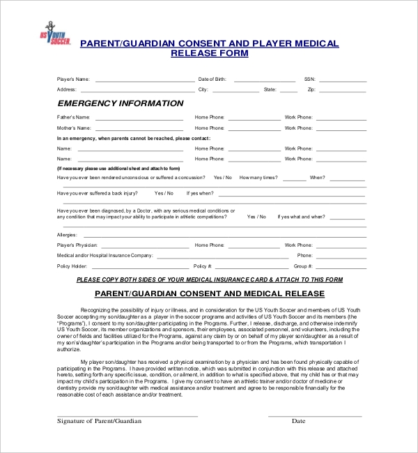 youth soccer medical release form