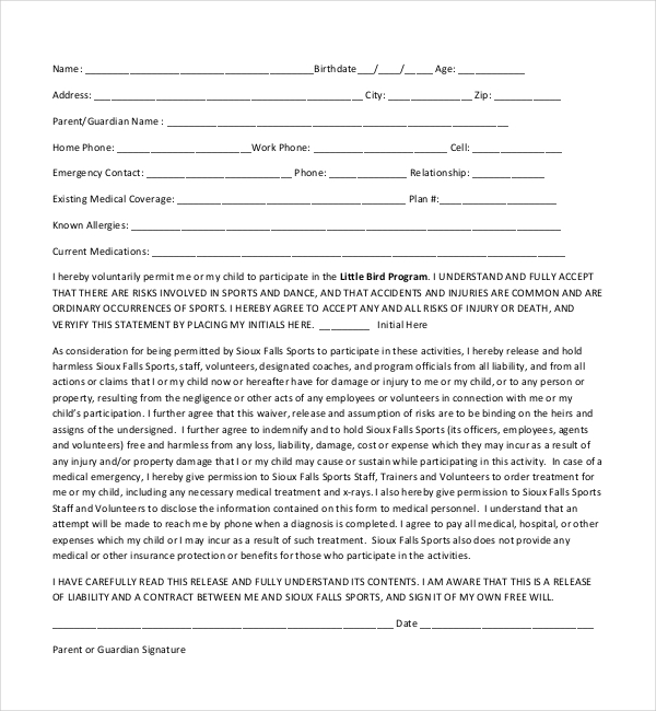 youth sports medical release form