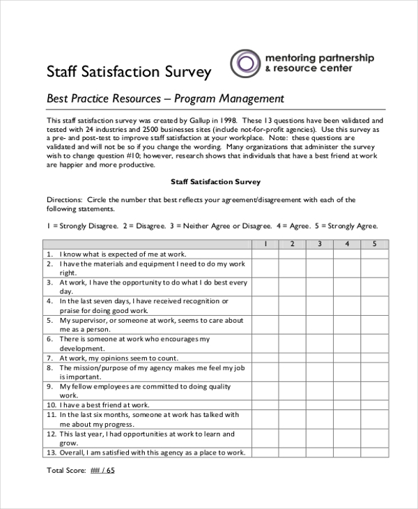 Sample Staff Satisfaction Survey Form   Free Documents In Pdf