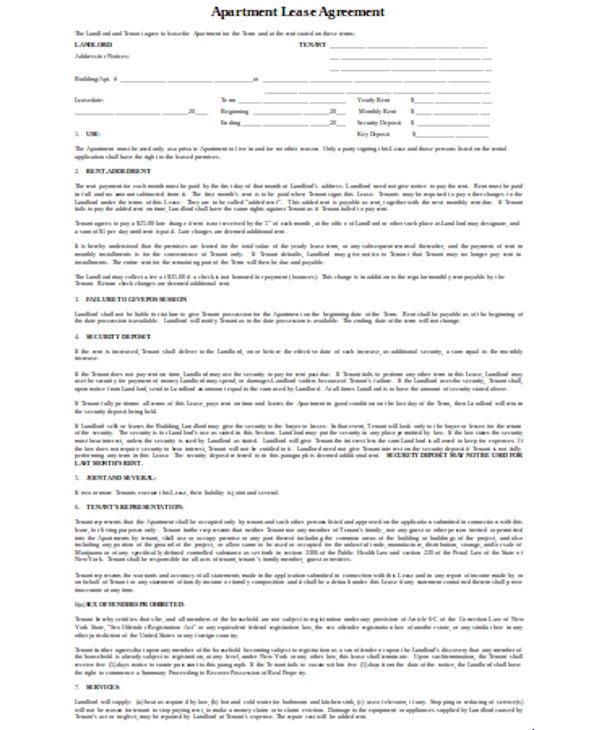 apartment lease agreement form1
