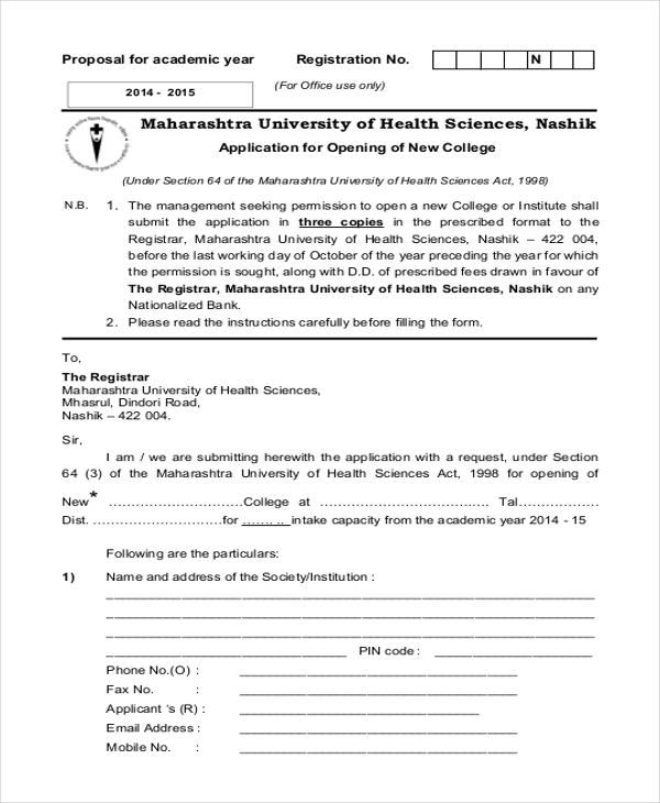 application form for opening new college