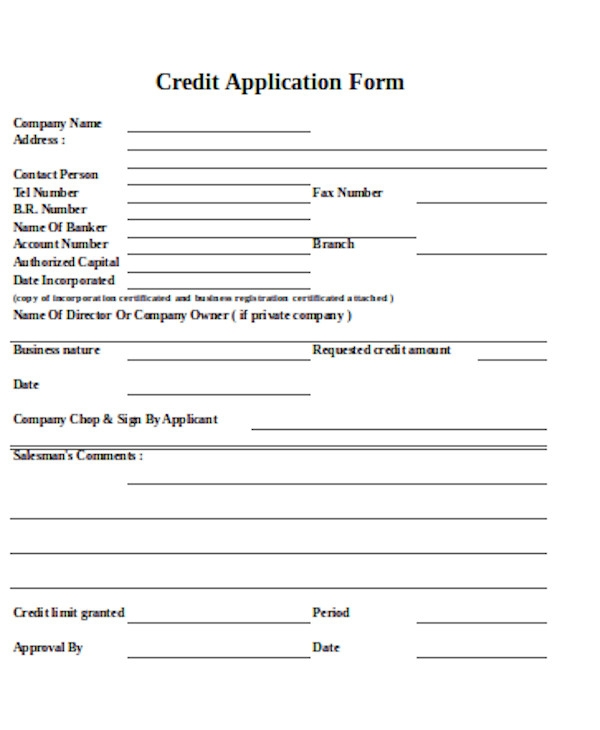 basic credit application form