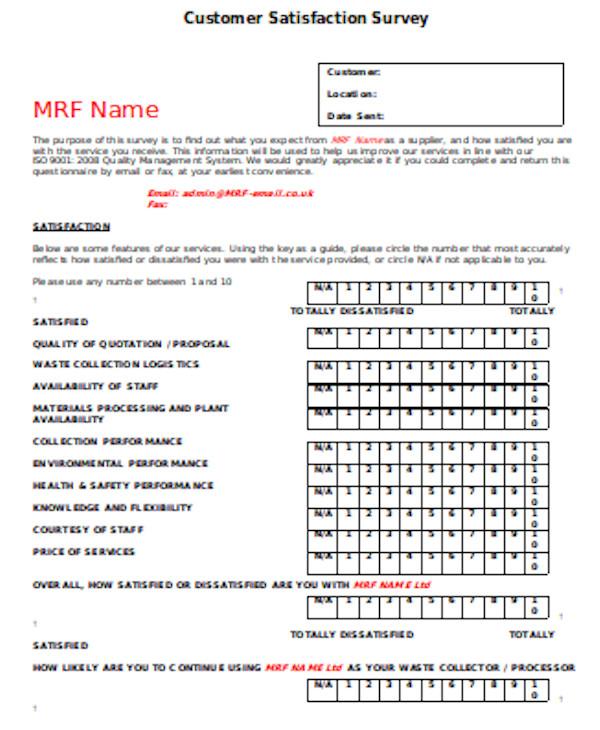 basic customer service survey