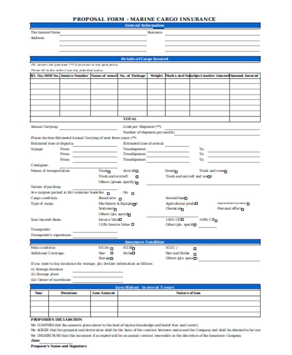 basic insurance proposal form