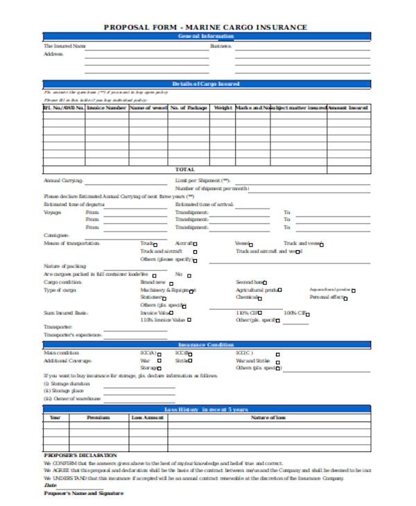 basic insurance proposal form