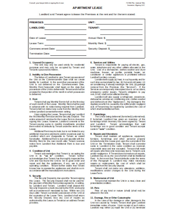 basic lease agreement form