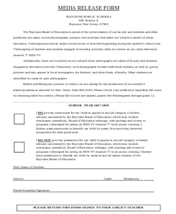 basic media release form