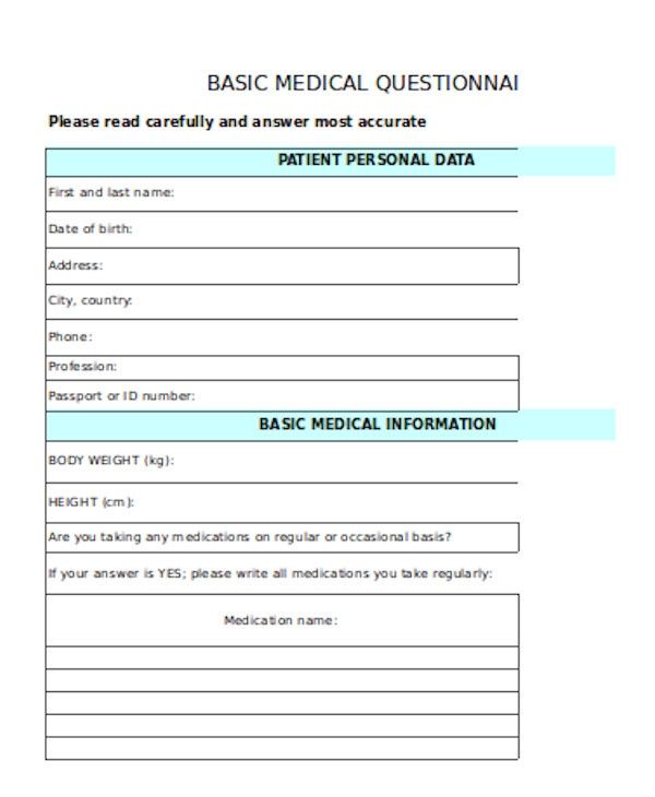 basic medical questionnaire form