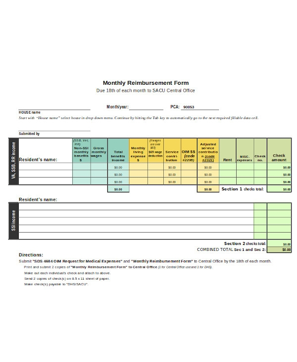 basic medical reimbursement form