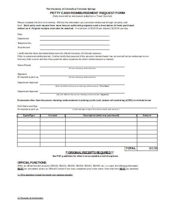 basic petty cash reimbursement form