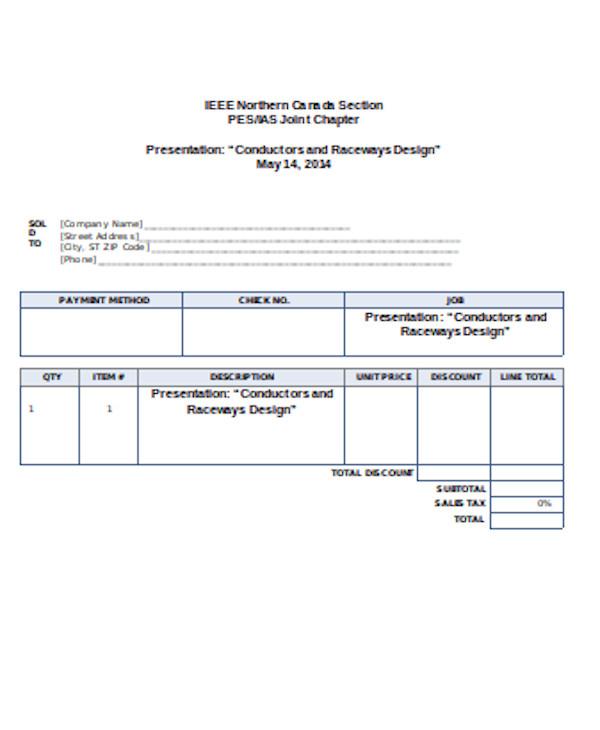 basic sales receipt form
