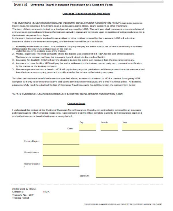 basic travel consent form