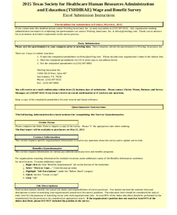 benefits survey questionnaire form