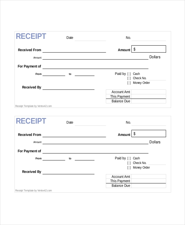 Blank Cash Receipt Form  Blank Reciept