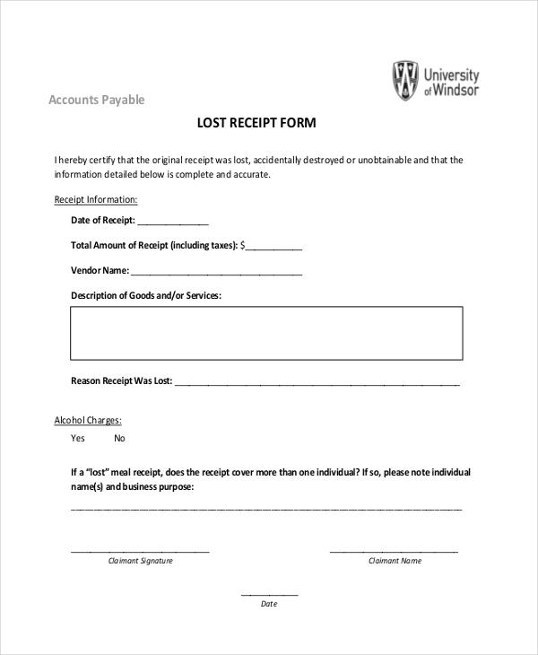blank lost receipt form