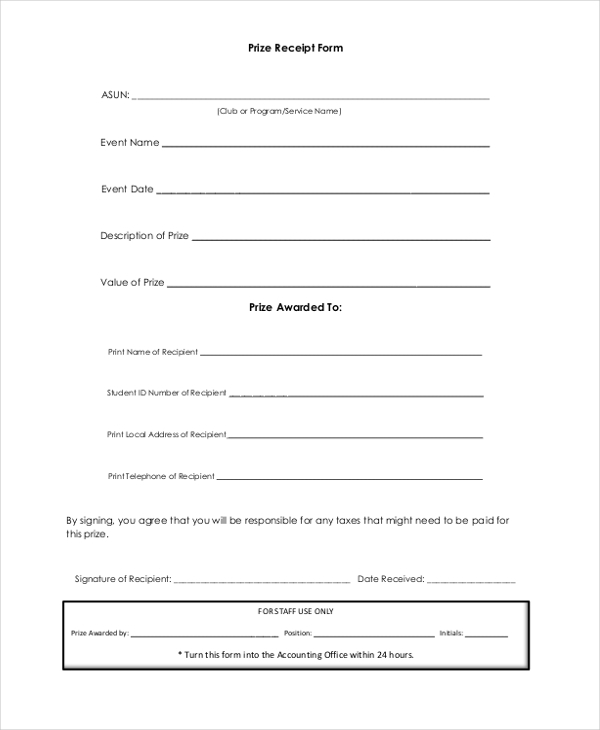 free 9  sample blank receipt forms in pdf