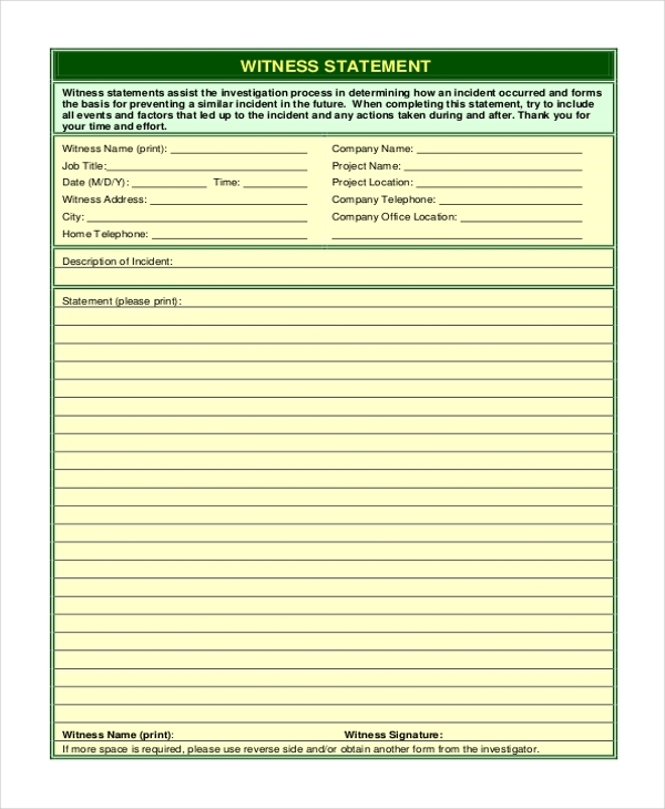 Sample Witness Statement Form   Free Documents In Word Pdf