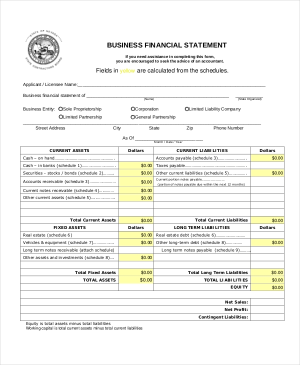 Sample Business Financial Statement Forms 8 Free Documents in – Sample Personal Financial Statement Form