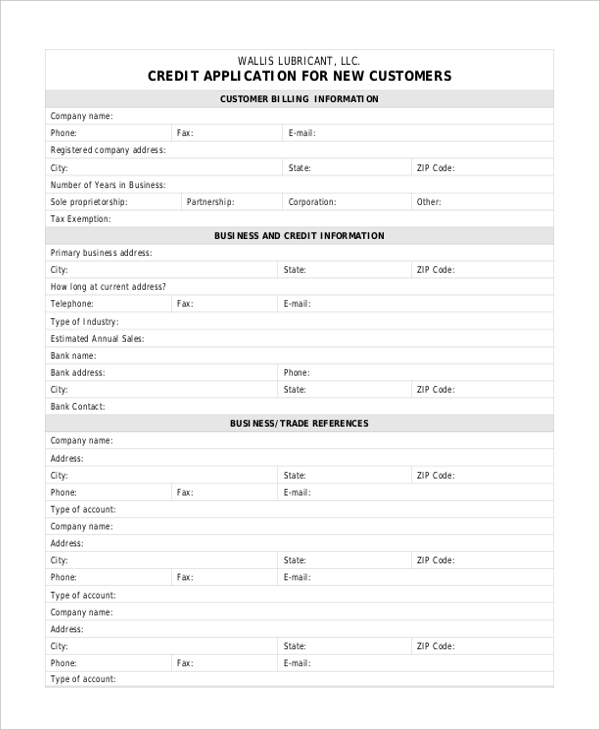 credit application for new customers