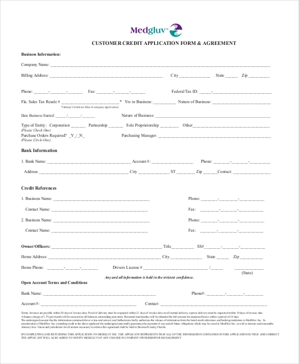 customer credit application form agreement