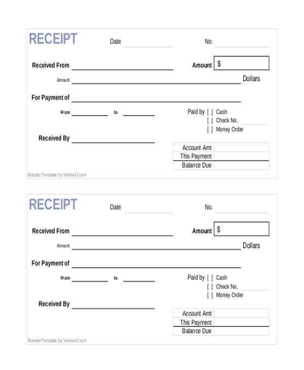 Sample Receipt Of Payment Form   Free Documents In Pdf