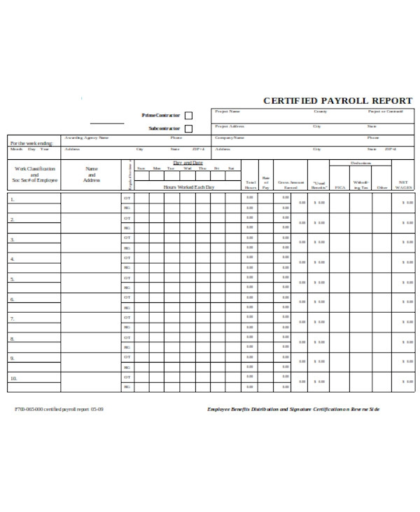 certified payroll report form