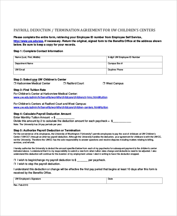child care payroll deduction form