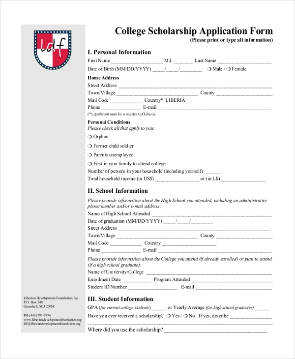 Sample college application form 7 free documents in pdf for Scholarship forms template