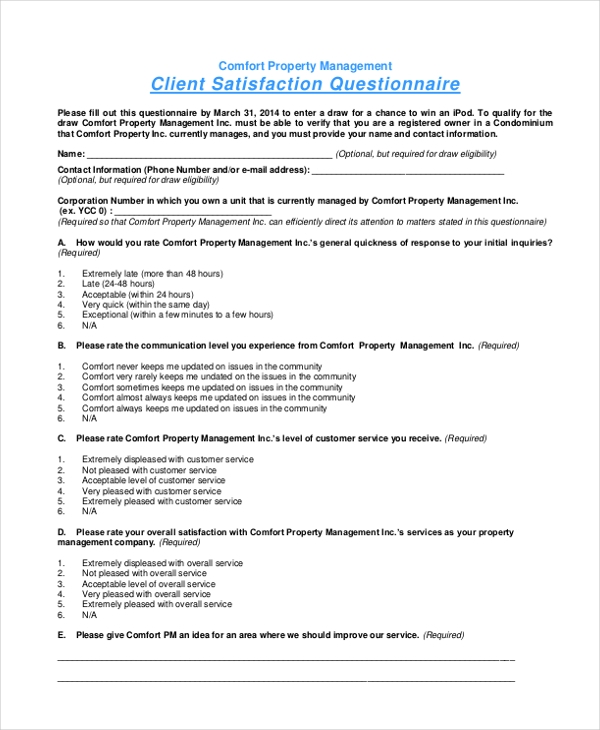 comfort property management client satisfaction questionnaire