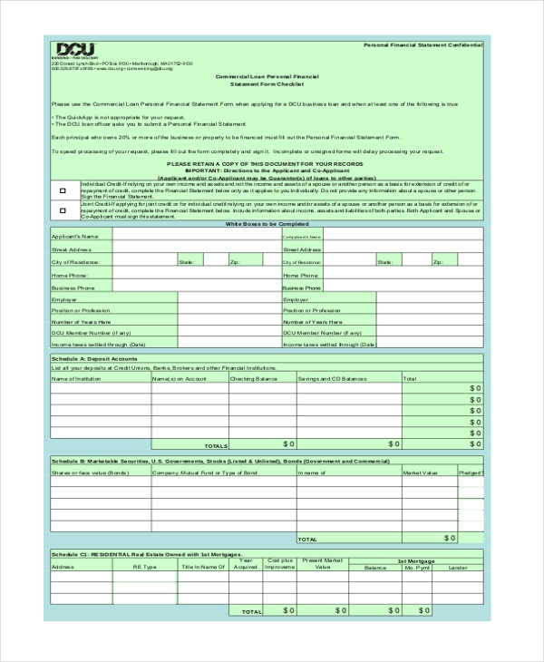 Sample Business Financial Statement Forms 8 Free Documents in – Business Financial Statement Form