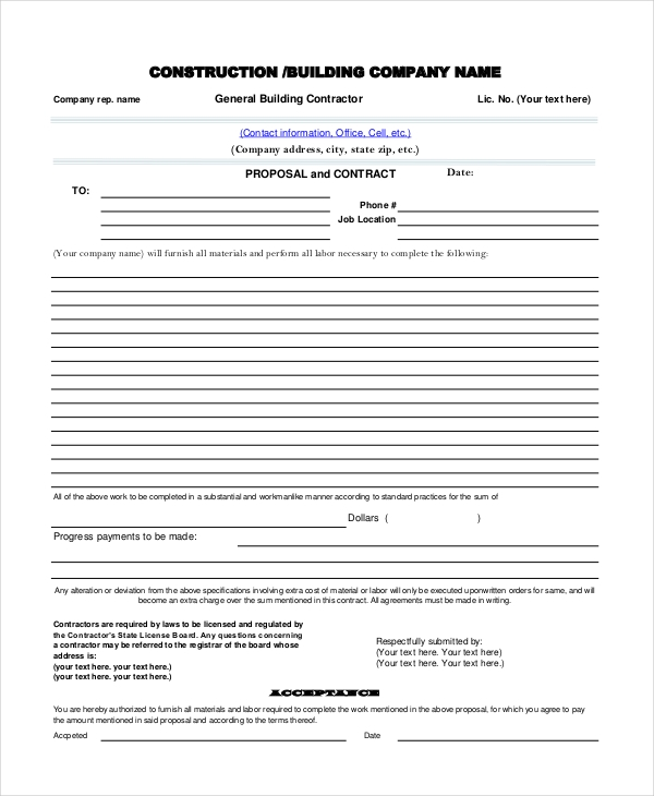 companey contractor proposal form